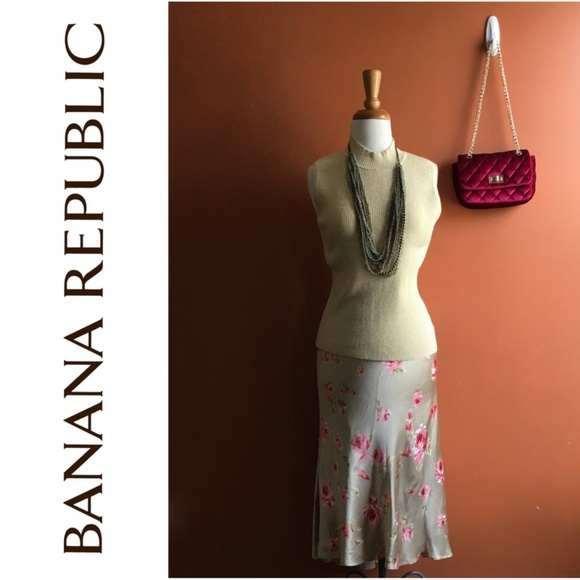 Banana Republic Dresses & Skirts - BANANA REPUBLIC Golden Pink Floral Skirt 14